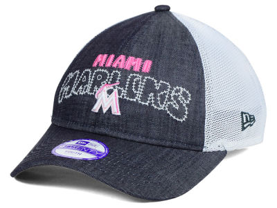 Miami Marlins New Era MLB Youth Denim Stitcher 9TWENTY Cap