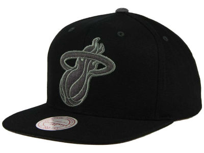 Miami Heat Mitchell and Ness NBA Grey Tonal Logo Snapback Cap