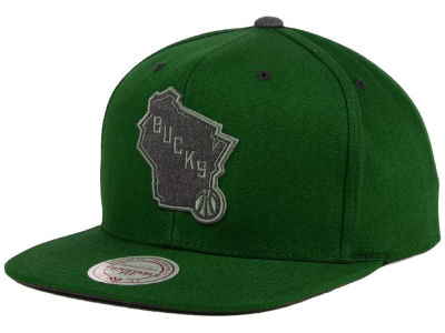 Milwaukee Bucks Mitchell and Ness NBA Grey Tonal Logo Snapback Cap