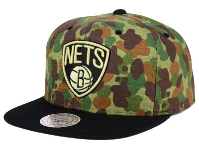 Brooklyn Nets Mitchell and Ness NBA Camo with Team Color Visor Strapback Cap