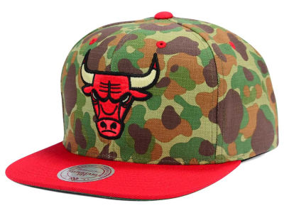 Chicago Bulls Mitchell and Ness NBA Camo with Team Color Visor Strapback Cap