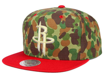 Houston Rockets Mitchell and Ness NBA Camo with Team Color Visor Strapback Cap