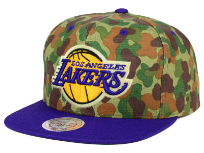 Los Angeles Lakers Mitchell and Ness NBA Camo with Team Color Visor Strapback Cap