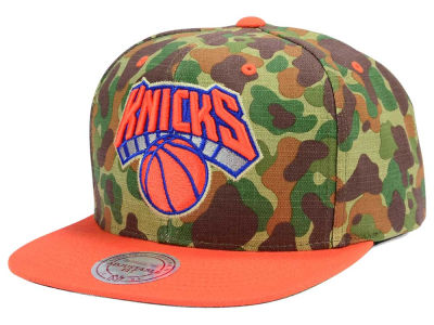 New York Knicks Mitchell and Ness NBA Camo with Team Color Visor Strapback Cap