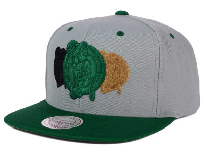 Boston Celtics Mitchell and Ness NBA Triple Color Stack Snapback Cap