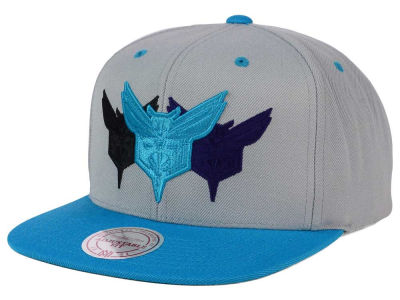 Charlotte Hornets Mitchell and Ness NBA Triple Color Stack Snapback Cap