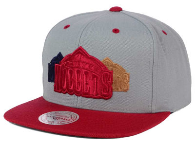 Denver Nuggets Mitchell and Ness NBA Triple Color Stack Snapback Cap