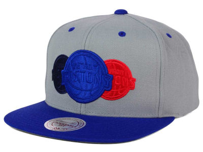 Detroit Pistons Mitchell and Ness NBA Triple Color Stack Snapback Cap