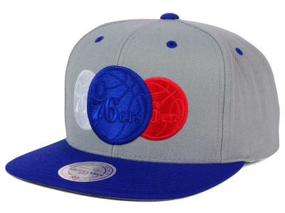 Philadelphia 76ers Mitchell and Ness NBA Triple Color Stack Snapback Cap