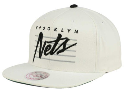 Brooklyn Nets Mitchell & Ness NBA Cursive Script Cotton Snapback Cap