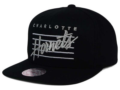 Charlotte Hornets Mitchell and Ness NBA Cursive Script Cotton Snapback Cap