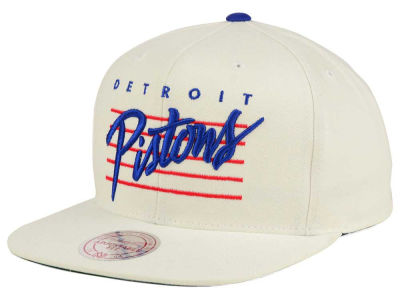 Detroit Pistons Mitchell and Ness NBA Cursive Script Cotton Snapback Cap