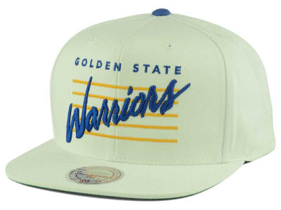 Golden State Warriors Mitchell and Ness NBA Cursive Script Cotton Snapback Cap