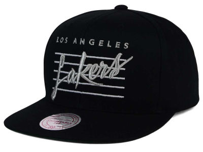 Los Angeles Lakers Mitchell and Ness NBA Cursive Script Cotton Snapback Cap