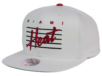 Miami Heat Mitchell and Ness NBA Cursive Script Cotton Snapback Cap