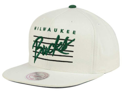 Milwaukee Bucks Mitchell and Ness NBA Cursive Script Cotton Snapback Cap