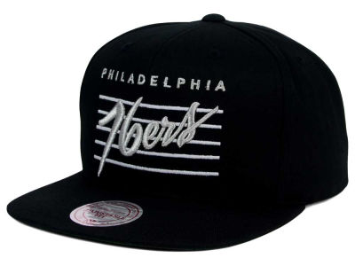 Philadelphia 76ers Mitchell and Ness NBA Cursive Script Cotton Snapback Cap