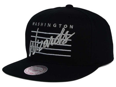 Washington Wizards Mitchell and Ness NBA Cursive Script Cotton Snapback Cap