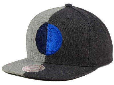 Dallas Mavericks Mitchell and Ness NBA Split Heather Snapback Cap