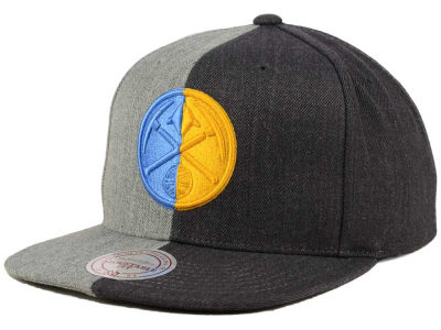 Denver Nuggets Mitchell and Ness NBA Split Heather Snapback Cap