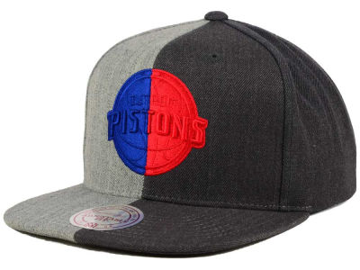 Detroit Pistons Mitchell and Ness NBA Split Heather Snapback Cap