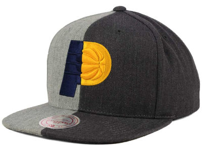 Indiana Pacers Mitchell and Ness NBA Split Heather Snapback Cap