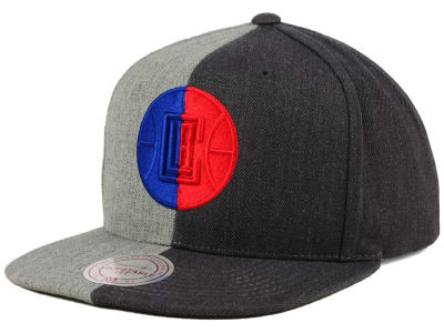 Los Angeles Clippers Mitchell and Ness NBA Split Heather Snapback Cap