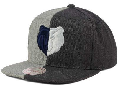 Memphis Grizzlies Mitchell and Ness NBA Split Heather Snapback Cap