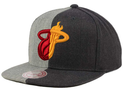 Miami Heat Mitchell and Ness NBA Split Heather Snapback Cap