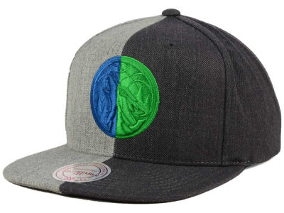 Minnesota Timberwolves Mitchell and Ness NBA Split Heather Snapback Cap