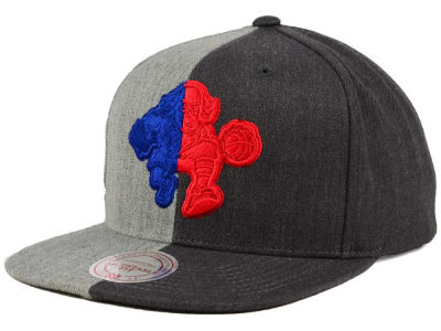 Philadelphia 76ers Mitchell and Ness NBA Split Heather Snapback Cap