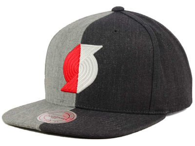 Portland Trail Blazers Mitchell and Ness NBA Split Heather Snapback Cap