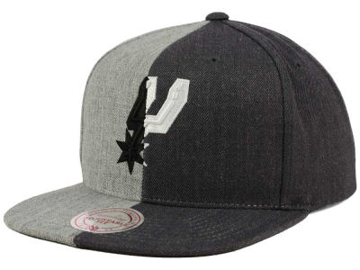 San Antonio Spurs Mitchell and Ness NBA Split Heather Snapback Cap