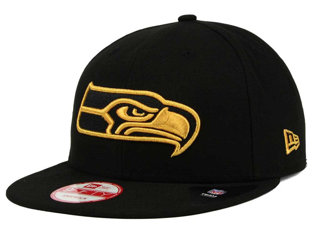 14a3243111c Seattle Seahawks New Era NFL Black Metallic Gold 9FIFTY Snapback Cap ...