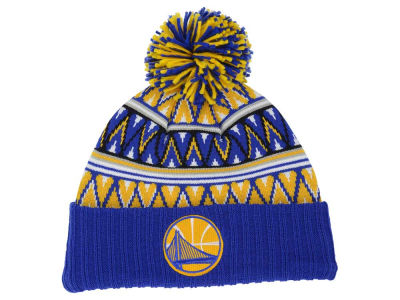 Golden State Warriors Mitchell and Ness NBA Tribal HI 5 Pom Beanie