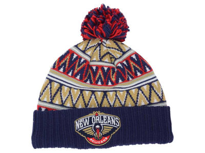 New Orleans Pelicans Mitchell and Ness NBA Tribal HI 5 Pom Beanie