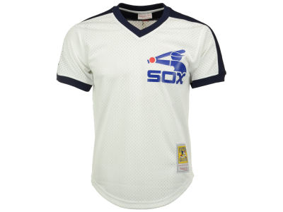 Chicago White Sox Carlton Fisk Mitchell and Ness MLB Men's Authentic Mesh Batting Practice V-Neck Jersey