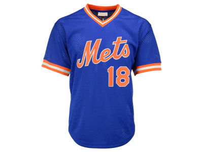 New York Mets Darryl Strawberry Mitchell and Ness MLB Men's Authentic Mesh Batting Practice V-Neck Jersey