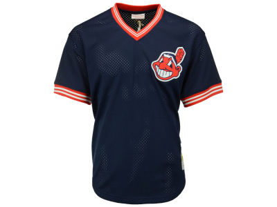 Cleveland Indians Joe Carter Mitchell and Ness MLB Men's Authentic Mesh Batting Practice V-Neck Jersey