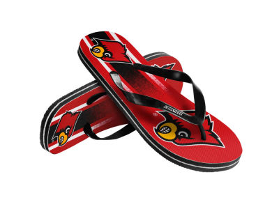 Louisville Cardinals Youth Wordmark Stripe Flip Flops