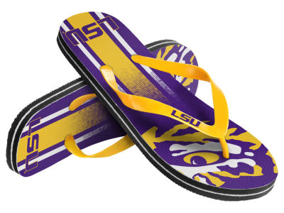 LSU Tigers Youth Wordmark Stripe Flip Flops
