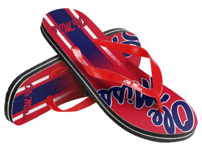 Ole Miss Rebels Youth Wordmark Stripe Flip Flops