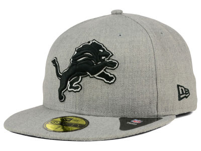 Detroit Lions New Era NFL Heather Black White 59FIFTY Cap