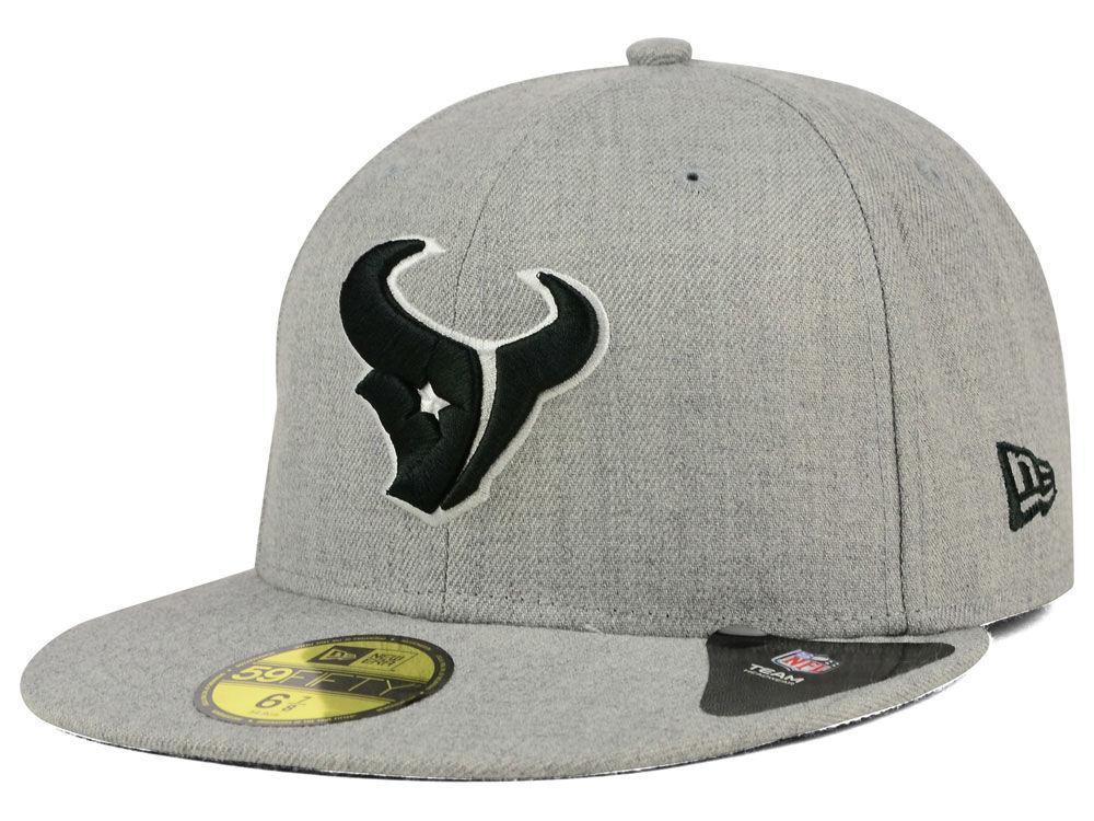 Houston Texans New Era NFL Heather Black White 59FIFTY Cap  eb23333b5dd0