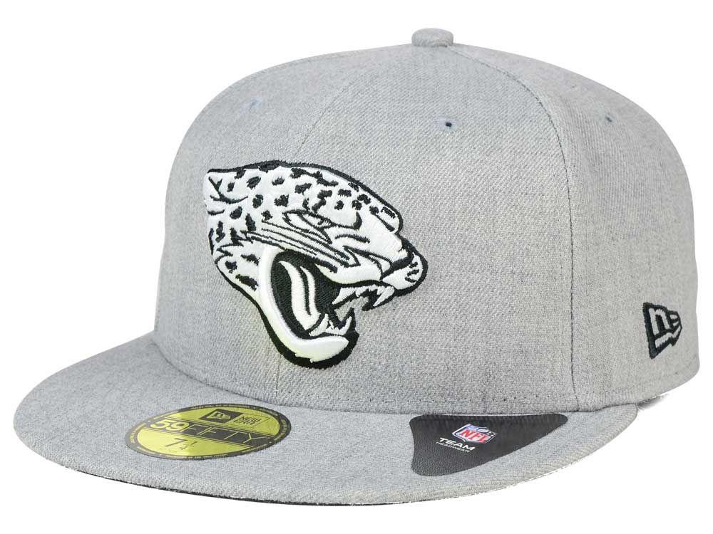 cdc1a15392e Jacksonville Jaguars New Era NFL Heather Black White 59FIFTY Cap ...