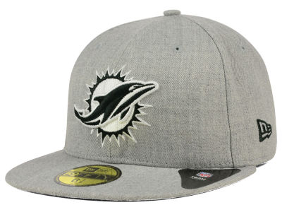 Miami Dolphins New Era NFL Heather Black White 59FIFTY Cap