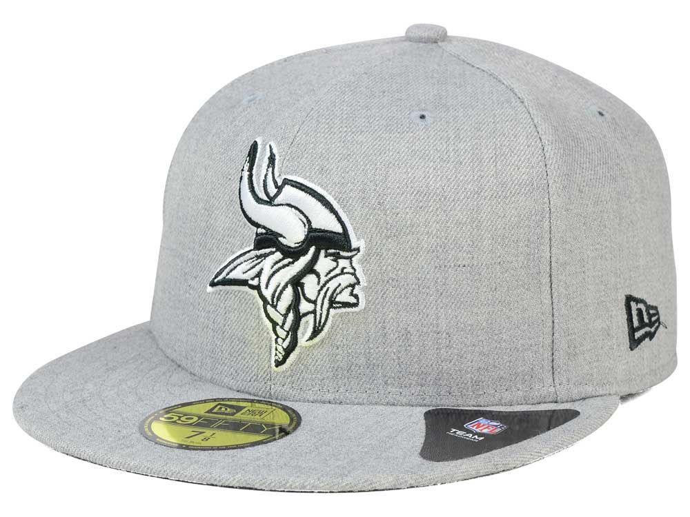Minnesota Vikings New Era NFL Heather Black White 59FIFTY Cap  61771bd30ba