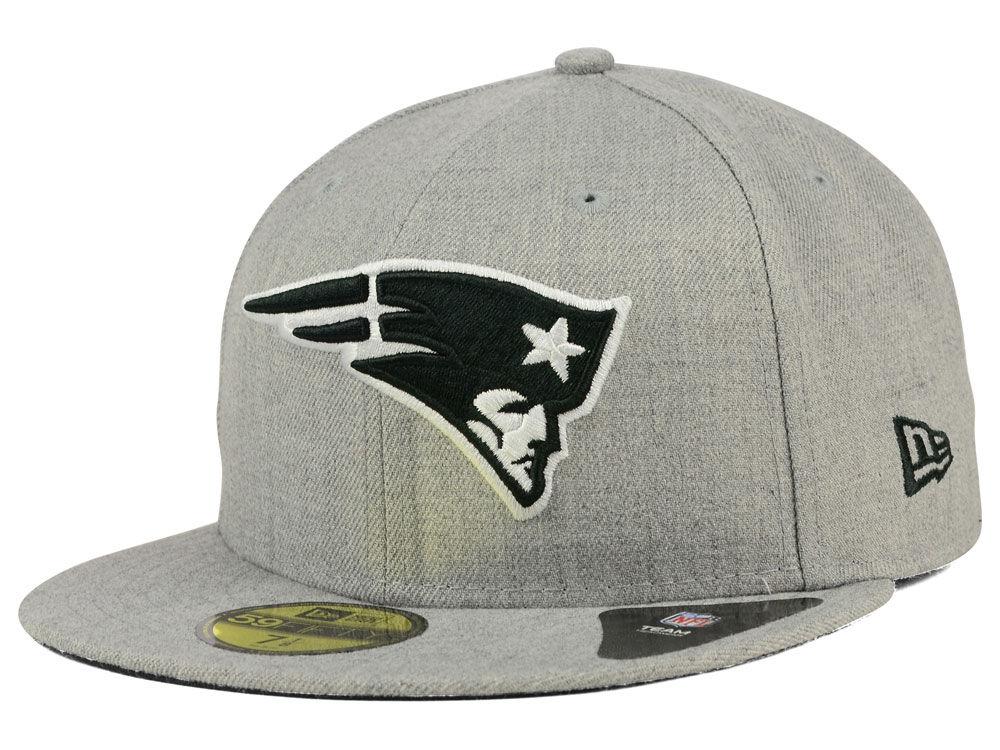 786202ec425 New England Patriots New Era NFL Heather Black White 59FIFTY Cap ...