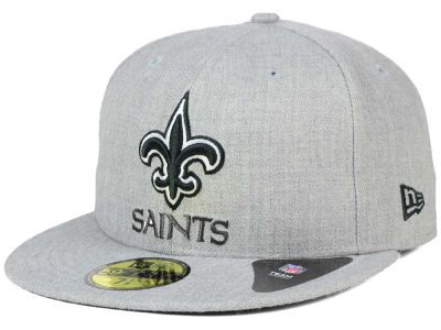 New Orleans Saints New Era NFL Heather Black White 59FIFTY Cap
