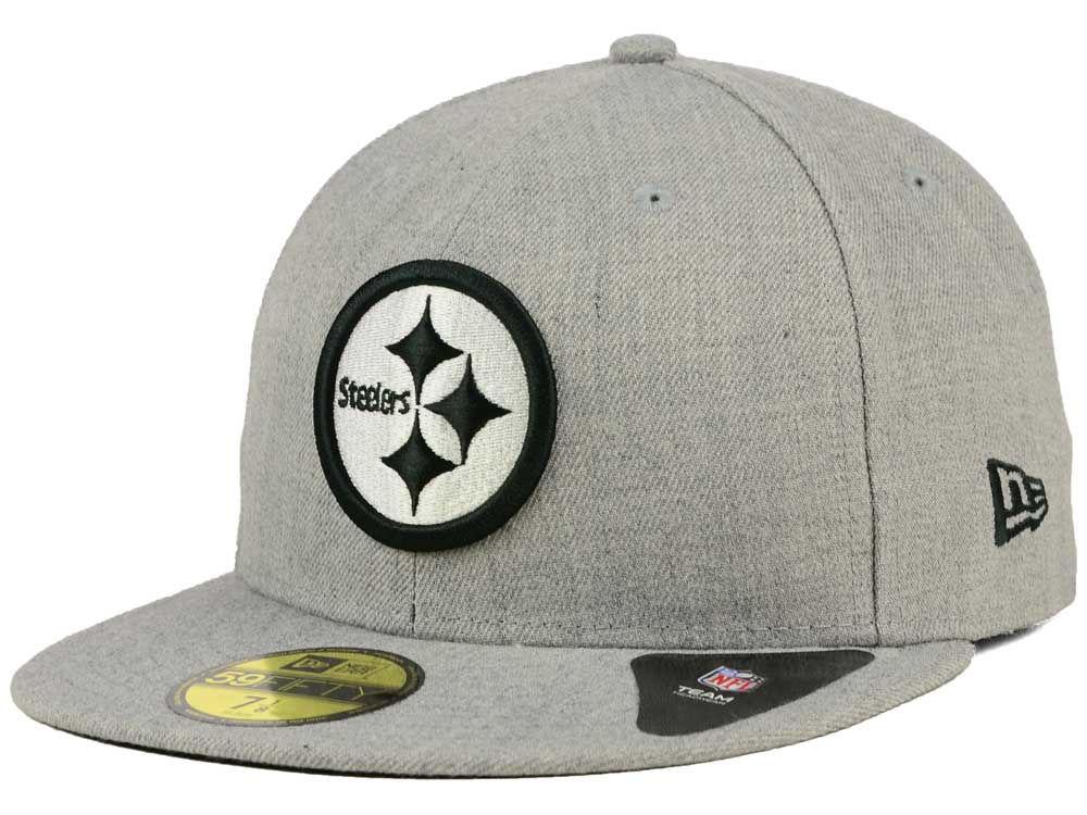 Pittsburgh Steelers New Era NFL Heather Black White 59FIFTY Cap 91b1ffb6879
